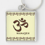 Namaste with Om Symbol Brown and Cream Key Chains
