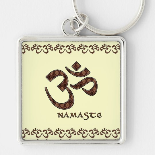 Namaste with Om Symbol Brown and Cream Key Ring