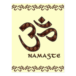 Namaste with Om Symbol Brown and Cream Postcard