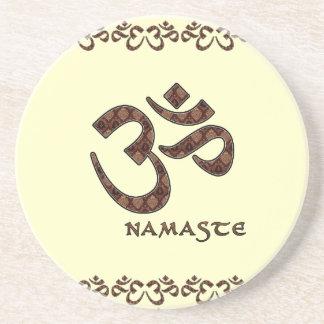 Namaste with Om Symbol Brown and Cream Sandstone Coaster