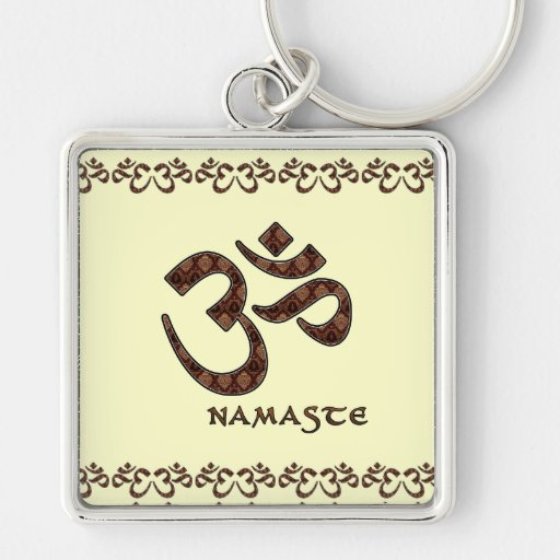Namaste with Om Symbol Brown and Cream Silver-Colored Square Key Ring