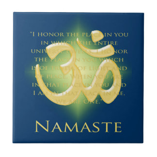 Namaste with Om symbol Small Square Tile