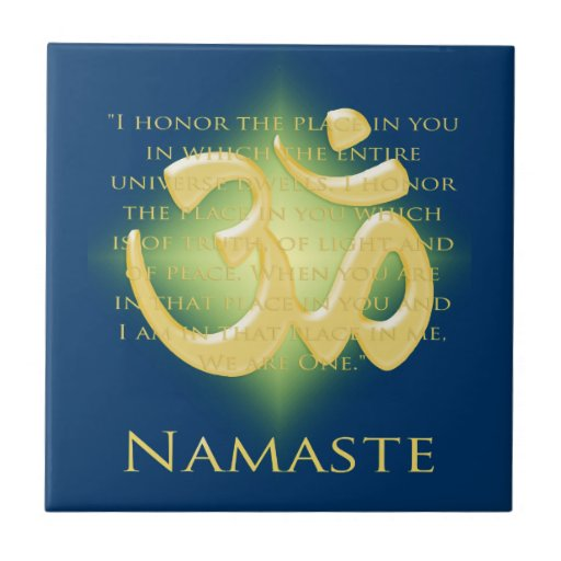 Namaste with Om symbol Tiles