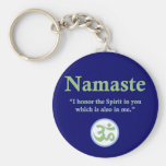 Namaste - with quote and Om symbol Basic Round Button Key Ring