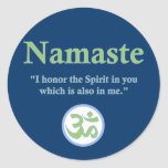 Namaste - with quote and Om symbol Round Stickers