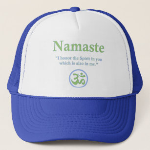 457ee2345c0d4 Namaste - with quote and Om symbol Trucker Hat
