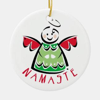 Namaste Yoga Christmas Round Ceramic Decoration