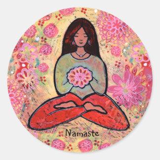 Namaste Yoga Girl with Black Hair Sticker