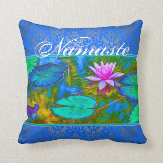 Namaste Yoga Lotus Blossom and Damask Cushion