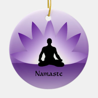Namaste Yoga Lotus Man Flower Violet Ornament