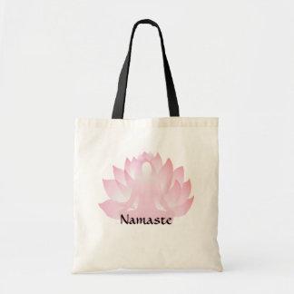 Namaste Yoga Lotus Pose Flower Budget Tote Bag