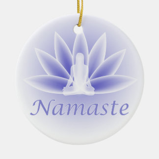Namaste Yoga Lotus Woman Flower Blue Ornament