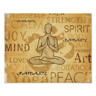 Namaste Yoga Love Golden Lotus Print