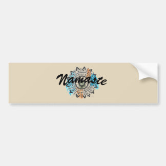 Namaste Yoga Mandala Black Typography Bumper Sticker