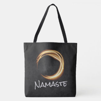 Namaste Yoga Meditation Instructor Black Gold ZEN Tote Bag