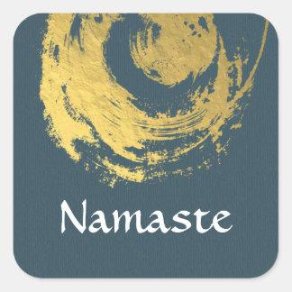 Namaste Yoga Meditation Instructor Blue Gold ZEN Square Sticker