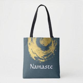 Namaste Yoga Meditation Instructor Blue Gold ZEN Tote Bag