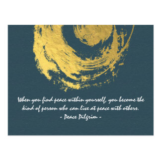 Namaste Yoga Meditation Quotes Blue Gold ZEN Sign Postcard