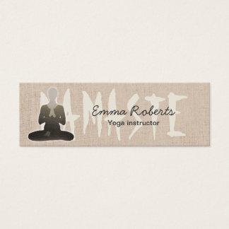 Namaste Yoga Mini Natural Linen Texture Mini Business Card