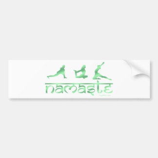 Namaste yoga poses green bumper sticker