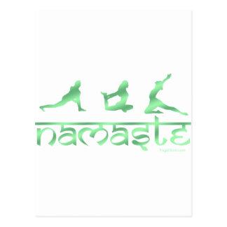 Namaste yoga poses green postcard