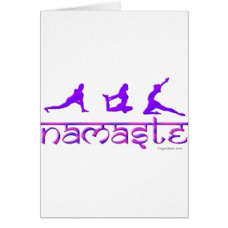 Namaste yoga poses purple card