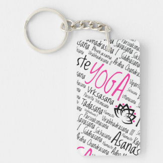 Namaste Yoga Positions Asana Poses Sanskrit Names Double-Sided Rectangular Acrylic Key Ring