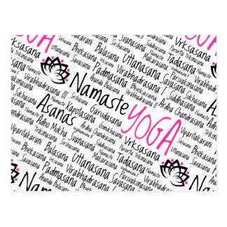 Namaste Yoga Positions Asana Poses Sanskrit Names Postcard