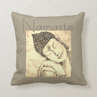 Namaste Zen Buddha Watercolor Art Pillow