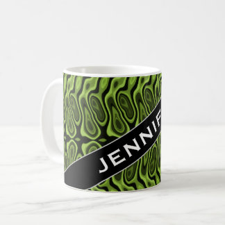 Name + Abstract Green Liquid-Like Splotch Pattern Coffee Mug