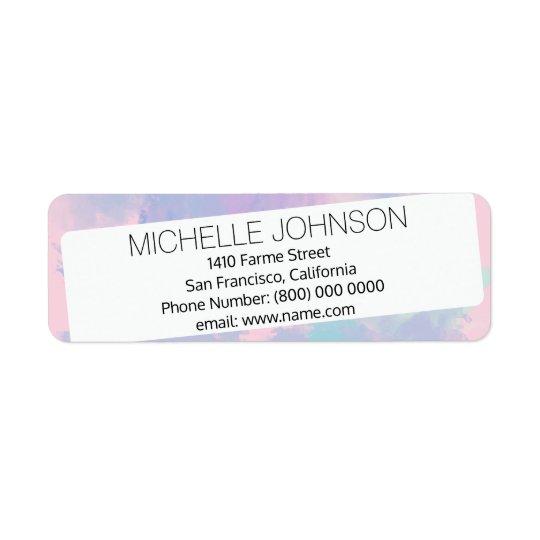 name address, lilac & white return address label