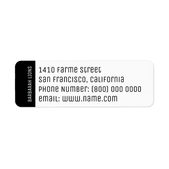 name, address, phone number & email information return address label