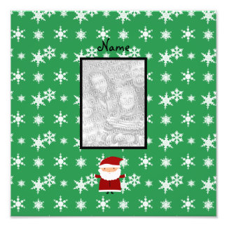 Name and add your own photo santa green snowflakes