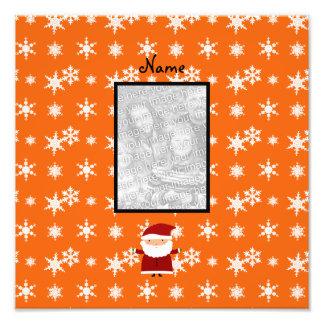 Name and add your own photo santa orange snowflake