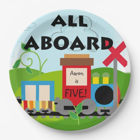 Name and Age All Aboard Train Happy Birthday