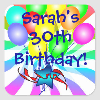Name And Age Birthday Stickers