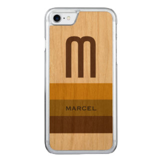 name and initial on-wood carved iPhone 8/7 case