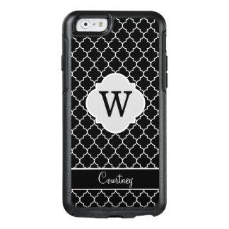 Name and Monogram Black White Quatrefoil Custom OtterBox iPhone 6/6s Case