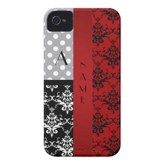 Name and monogram red damask polka dots iPhone 4 cases