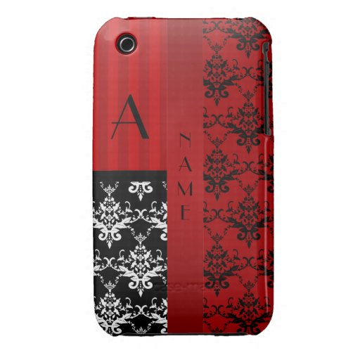 Name and monogram red damask stripes iPhone 3 covers