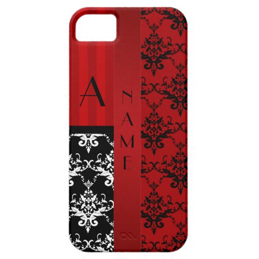 Name and monogram red damask stripes iPhone 5 cover