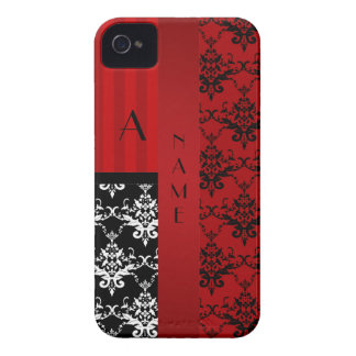Name and monogram red damask stripes iPhone 4 cover
