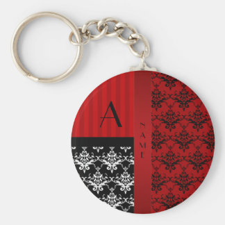 Name and monogram red damask stripes key chains