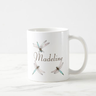 Name and Teal Blue Dragonflies Coffee Mug