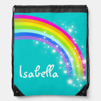 Name aqua rainbow stars drawstring bag