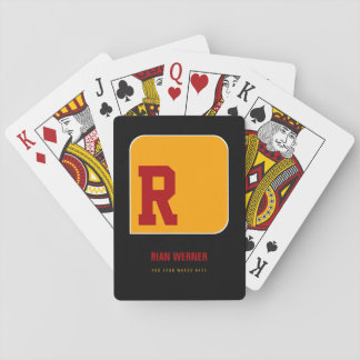 name, B initial + text, personal color yellow Playing Cards