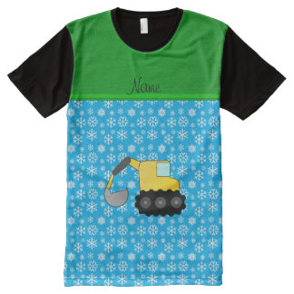 Name backhoe sky blue christmas snowflakes All-Over print T-Shirt