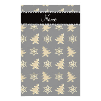 Name black gold christmas trees snowflakes stationery
