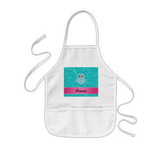 Name bling owl diamonds turquoise swirls aprons