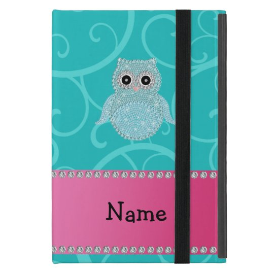 Name bling owl diamonds turquoise swirls iPad mini